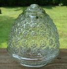 Vintage Clear Glass Light Cover  - Acorn Shape with Floral Hobnail Pattern
