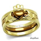 Women's Irish Claddagh Chocolate & 14k Gold Plated Wedding Ring Set Size 5-11