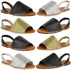 New Womens Ladies Summer Menorcan Sandals Glitter Flip Flop Sling Back Shoes