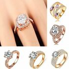 Elegant Womens Engagement Wedding Ring Rose Gold Crystal Zircon Stone Fashion