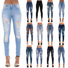 NEW WOMENS SKINNY FIT RIPPED BLACK WHITE BLUE JEANS DENIM SIZE 6-22