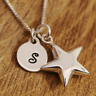 925 Sterling Silver Personalised Lucky Star Charm Pendant Necklace & Initial Tag