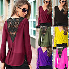 Sexy Women Lace Chiffon V-Neck Tops Long Sleeve Shirt Casual Blouse Plus Size