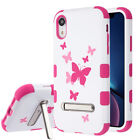 Pink Butterfly Durable Hard Hybrid Tuff Phone Case Cover Protector Kickstand