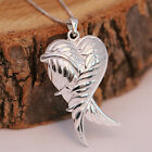 925 Sterling Silver Locket 3D Angel Wing Love Heart Pendant Necklace w Gift Box