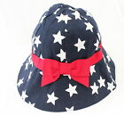 Kids Girls Navy Blue White Stars Bow Bucket Sun Hat with Chin Strap Age 1 to 8