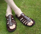 MENS 100% MOROCCAN LEATHER SANDALS *  BROWN  * SLIP ON'S