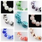 10 x Handmade Glass Lampwork Round Marble Effect Beads 14mm