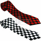 Red White Black Checked Mens Ladies Unisex Satin Skinny Neck Tie Smart