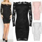 LADIES CROCHET LACE BARDOT DRESS WOMEN MIDI BODYCON LONG SLEEVE OFF SHOULDER TOP