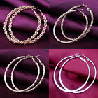 New Gold Silver Plated Women Fashion Hoop Dangle Earrings Round Circle Hoop