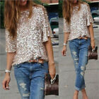 Sequin Tank Glitter 2016 Coctail Womens Sparkle Party Top 3/4 Sleeve T-Shirt