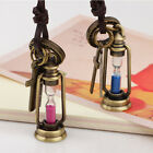 Mini hourglass time pendant necklace leather cord necklace sweater chain jewelry