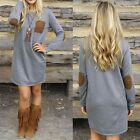 Women Crew Neck Jumper Pullover Long Tops Cocktail Party Mini Dress Blouse N98B