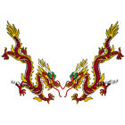 Red Yellow Dragon Embroidered Patch Badges Sew Iron on Patches Applique 8*18.5cm