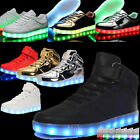 Unisex Kids LED Lights Luminous Sportswear Lace Up Casual Flats Sneaker Shoes