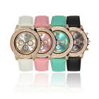 Vogue Women Ladies Crystal Dial Quartz Analog Leather Bracelet Wrist Watch