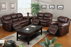 3 Pc Motion Sofa Set Padded Leather Espresso Traditional Living Room Furniture