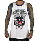 SULLEN CLOTHING JULY 4TH ANCHOR EAGLE  TATTOO  INK SKULL WHITE T SHIRT TANK TOP