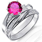 Red Ruby Brilliant Round Sterling Silver Engagement Wedding Ring Set 2.35 Ctw