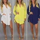 Summer Women Long Sleeve V-Neck Oversize Loose Chiffon T Shirt Top Blouse Dress