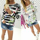 Women O-neck Striped Floral Jumper Blouse T shirt Shirt Pullover Casual Tops Tee