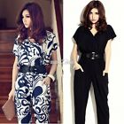 Ladies Career Rompers Long Sleeve Chiffon Short Pant Deep V Neck Casual Jumpsuit