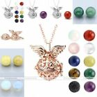 White Gold Plated Angle Wing Open Locket Pendant Chain Necklace With Stone Ball