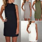 New Women Summer Sleeveless Evening Party Turtle Neck Dress Short Mini Dress