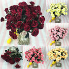 12 Head Vintage Artificial Rose Silk Flowers Leaf Flowers Wedding Party Decor
