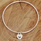 Handmade Sterling Silver Personalized Bangle with Initial Heart Charm & Gift Box