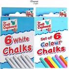 Chalk 6 Sticks - Playground Pub Art Craft Kids School Sidewalk  - White or Mixed