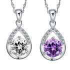 Silver Plated Necklace Clavicle Chain Cheap Jewelry Crystal Pendant Women H