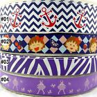 Mixed Colors Sizes Anchor Girl Zebra Cartoon Grosgrain Ribbon Craft Bow 2 Yards