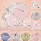 Bubble Dome Clear Transparent Umbrella Auto Hook Handle Polka Dots Sun Parasol