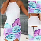 New Women Sexy Backless Braces Skirt Floral Printing Slim Mini Dress L/XL White