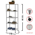 1/2/3/4 PCS 5 Tier Layer Steel Wire Metal Shelf Adjustable Shelving Rack GREY