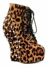 Bettiepage BP588-BELLADONA Curve Wedge Spiked Ankle Bootie
