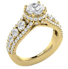 I1/G Prong Set 2.80 TCW Round Diamond 14Kt Gold Solitaire Anniversary Ring Band