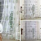 Floral Tulle Sheer Voile Door Window Curtain Panel Drape Shades Blinds Valances