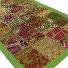 "LARGE SELECTION - 20 X 40"" GREEN EMBROIDERED TAPESTRY WALL HANGING Boho Decor"