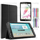 NEW LG GPAD Soft PU Leather Folio Cover Case with Built in Stand for LG G PAD