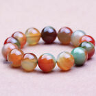 Natural Gemstone Crystal 8-10mm Peacock Agate Bracelet BN10