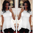 Fashion Women Casual Short Sleeve Blouse Summer Solid White Shirts Top T-shirt
