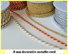 3 Mm Beautiful Decorative Metallic Twisted Cord Braid Jewellery Soutache Crafts