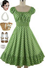 50s Style Avocado Green & White POLKA DOT PINUP Peasant On/Off t/Shoulder Dress