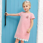 Children Skirts Hot Sold Summer Baby Kids Girls Cotton Lace Short Sleeve Dress