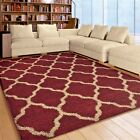 RUGS AREA RUGS CARPET 8x10 SHAG RUGS AREA RUG MODERN LARGE TRELLIS RED RUGS NEW~