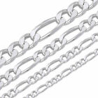 925 Sterling Silver Figaro Mens Womens Boys Chain Necklace .925 Italy ALL SIZES