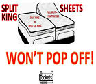 "SHEETS WON'T POP-OFF SPLIT KING TEMPURPEDIC & ALL ADJUSTABLE 10"" to 15"" high image"
